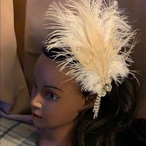 New Cream and White Wedding or Flapper hairpiece